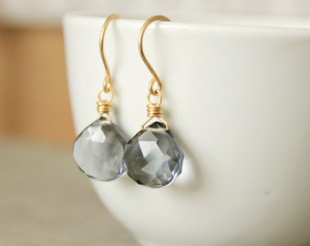 "Gray Earrings Gemstone  Earrings Faceted Briolettes Hydro Quartz Gold fill 14 k Gold Fill Minimal--""Yellow and Gray"""