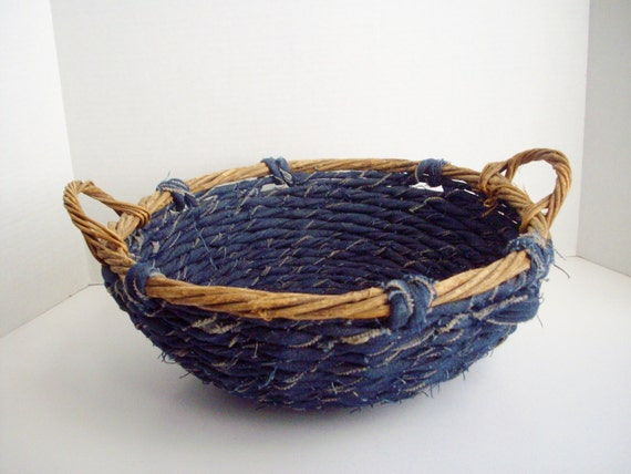Basket Weaving Using Vines : Vintage denim woven wood vine basket