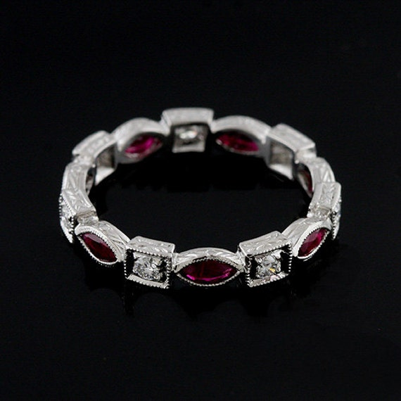 Platinum Art Deco Style Diamond and Ruby Stackable Eternity Wedding Band 3.2mm Wide