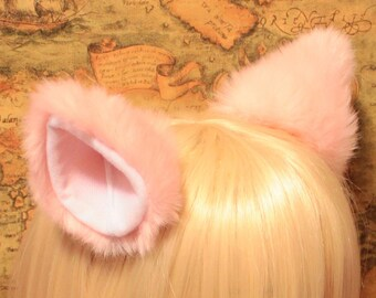 NEW - Pink inner White 10 cm Kitty Cat Ear Hair clip , w or w/o Ribbon, FOX ear Long fur flurry Hair Clip Cosplay Costumes Party