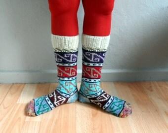 Knee Hight Wool Socks, Knit Socks, Leg Warmers, Women Socks, Winter Accessories,Holiday Fashion, Gift under 50