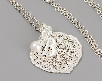 Sterling Silver Leaf Necklace - Real Aspen Leaf Necklace - Pearl Bridesmaid Jewelry - Personalized Sterling Silver Jewelry Handmade