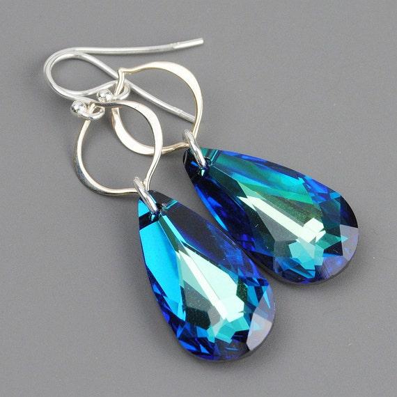 Bermuda Blue Earrings - Teal Blue Green Crystal Earrings - Peacock Blue Swarovski Teardrop Earrings - Sterling Silver Dangle Earrings