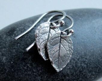 Rose Leaf Drop Sterling Silver Earrings