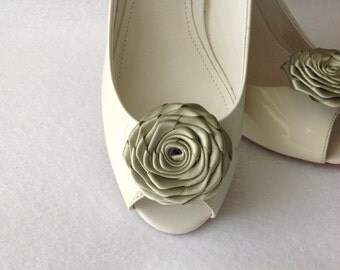 Handmade rose shoe clips bridal shoe clips wedding accessories in sage green