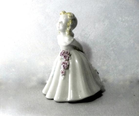 Vintage Porcelain Statue Southern Belle, Porcelain Figurine, Perfect Pastels Florals Nursery Photo Prop Little Girl Decor