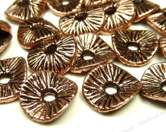 Bulk 60 Copper Red Wavy Metal Spacer Beads - 9x8mm Textured Rondelle Spacers, Wholesale - BH5