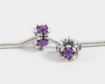3 Beads - Purple Flower Rhinestone Silver European Charm Bead E0604