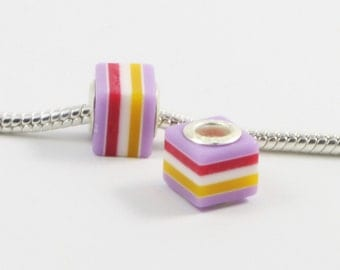 3 pc Resin Cube Stripe Purple White European Style Beads Spacer Charms for Bracelet Necklace Lot E0240