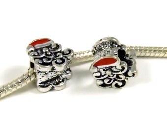 3 Beads - Santa Christmas Red Enamel Silver European Bead Charm E0875