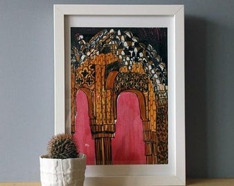 FRAMED  Alhambra Arches Giclée Print A4
