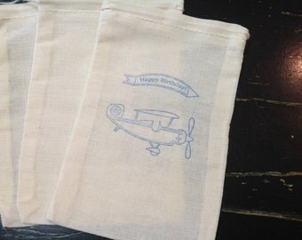 10 Airplane Personalized Muslin Bags-Great for Birthday Party Favors -Drawstring bags 4x6