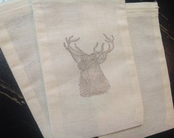10 Deer Muslin Bags- perfect for groomsmen gifts- bachelor party favors-Drawstring 4x6