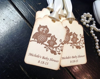 Owl  Personalized Thank you gift tags-owl baby shower tags-owl shower favors-set of 12