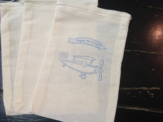 10 Airplane Muslin Bags-Great for Birthday Party Favors -Drawstring bags 4x6