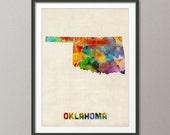 Oklahoma Watercolor Map USA, Art Print (391)