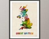 Great Britain Watercolor Map (United Kingdom), Art Print (522)