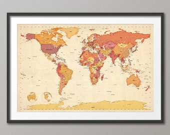 Political Map of the World Map, Art Print, 24x36 inch (478)