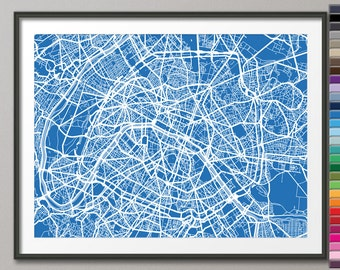 Paris France City Street Map, Art Print (77) - Custom Colors Available