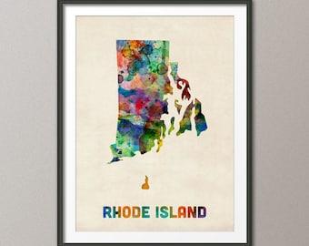 Rhode Island Watercolor Map USA, Art Print (416)