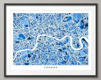 London Map, Street Map of London, Art Print (499)
