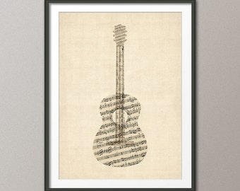 Acoustic Guitar Old Sheet Music Collage, Guitar Poster, Art Print (523)