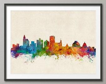 Jackson Skyline, Jackson Mississippi Cityscape, Art Print (1004)