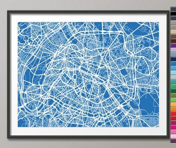 Paris France City Street Map, Art Print (77) - Custom Colors Available