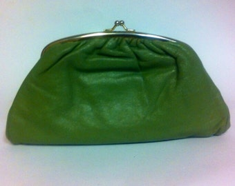 Olive green clutch / change purse style Free Shipping