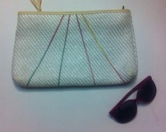 White Woven Purse Handbag Clutch