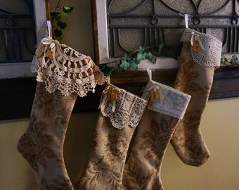 Christmas stocking, personalized, made in old world tapestry with vintage linens as cuffs