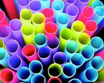 Colorful NEON Party Straws- 50 Pink Purple Green Blue plastic WRAPPED Fun Drinking Straws