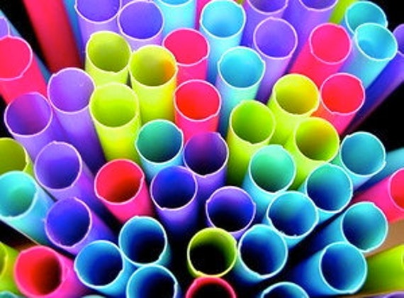 Colorful NEON Party Straws 50 Pink Purple Green Blue plastic #0: il 570xN k3pm