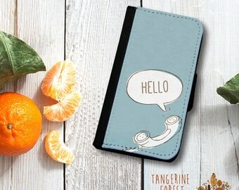 Whimsical Hello Wallet Phone Case. Available for iPhone 4/4s, 5/5s, 5c, 6/6s or 6+/6s+