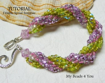 PDF Beading Tutorial, Double Spiral Pattern, Bead Pattern,Double Spiral Bracelet Tutorial,Seed Bead Pattern,Beading Instructions