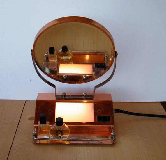 Vanity Mirror With Lights And Plugs : Vintage Copper Mirror Light Tray Plug In Outlet by ColorfulVintage