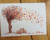 Autumn bunnies blank greeting card