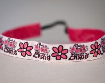"""Non Slip Headband 7/8"""" Pretty in Pink Dangerous in Camo"""