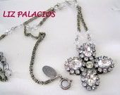 Vintage Liz Palacios Swarovski Crystal Cross Necklace