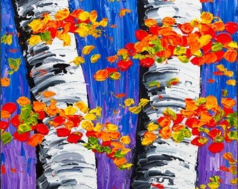 Original Fall Birch Tree Painting Aspen trees Palette Knife Textured Modern Art