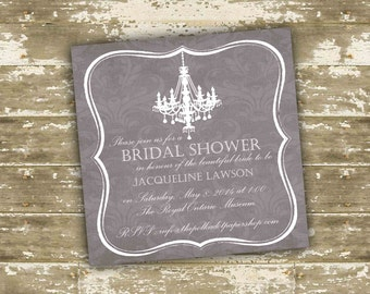 Print Your Own (DIY) Chandelier and Damask Bridal Shower Invitations