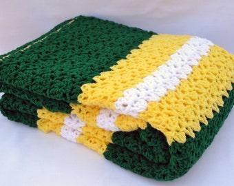 Oregon ducks fan inspired crochet blanket, afghan, lap blanket, travel blanket, team sports football blanket, crochet afghan