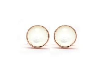 White Pearl in Rose Gold Stud Earrings - Stud Earrings - Mother of Pearl Cabochon - Round 6mm - Bezel Set Stud Earrings