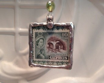 Art Stamp Pendant - Two- sided hand soldered pendant - Valentine or Spring Gift