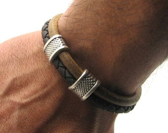 EXPRESS SHIPPING Men's Bracelet. Men's Leather Bracelet .Leather bracelets.Bracelet with silver plated spacer and clasp.Gift for dad husband