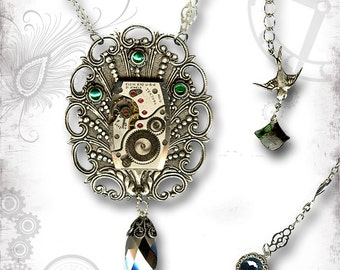 Emerald Peacock Plume Steampunk Necklace - ZaDeeDa The Mystic Seeker Collection -  Peacock Paradise