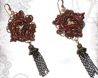 Red Chinese Dragon Tassel Dangle Earrings by Za Dee Da - The Mystic Seeker Collection - Year of the Dragon