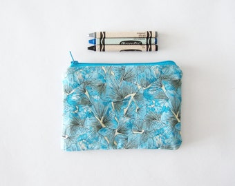 small zippered bag - blue ginkgo leaves - coin purse - purse organizer - back to school