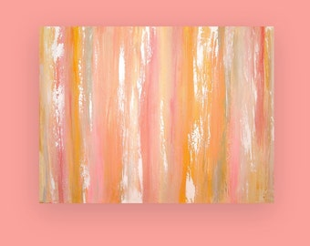 "Art and Collectibles Original Acrylic Abstract Painting Fine Art Canvas Titled:  JUST PEACHY 36x48x1.5"" by Ora Birenbaum"