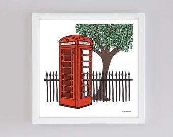 Red Telephone Box illustration print - Anglophile - London - England - British - Red Phone Box - English